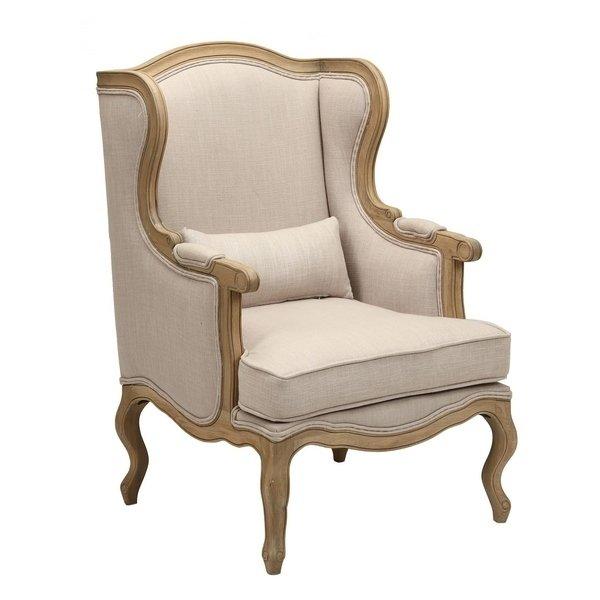 Кресло льняное Сезарина бежевого цвета