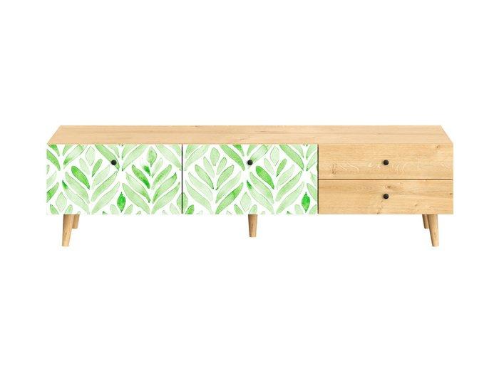 Тумба под TV Frida с бело-зеленым фасадом на деревянных ножках