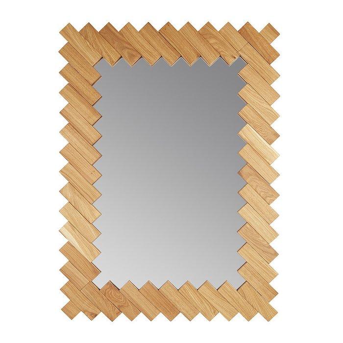 Зеркало настенное Дубовые планки с рамой из массива дуба