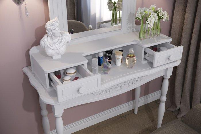 Туалетный столик с зеркалом Ассоль VIP белого цвета