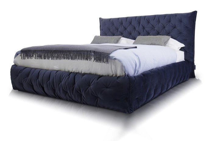 Кровать Club 120х200 темно-синего цвета
