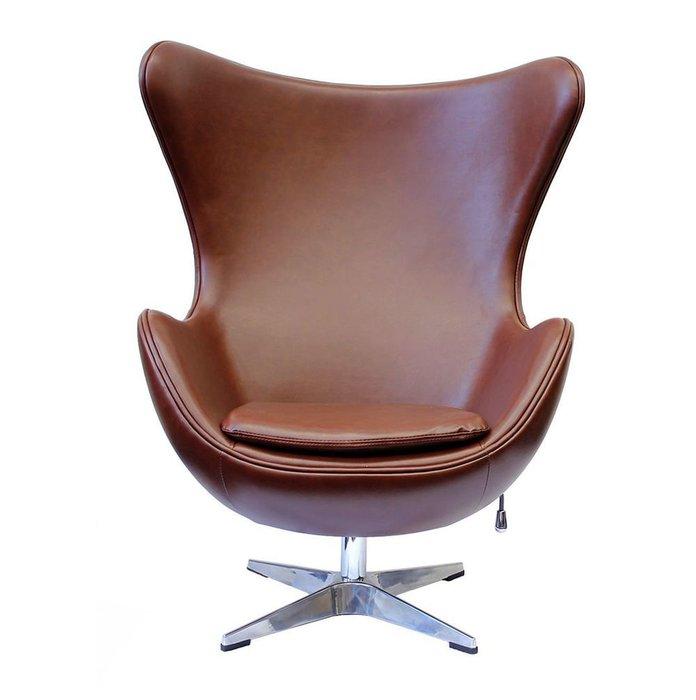 Кресло Egg Chair  коричневого матового цвета из экокожи