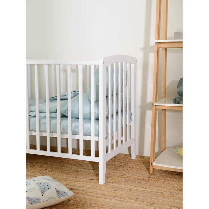 Комплект постельного белья из сатина голубого цвета 100х120