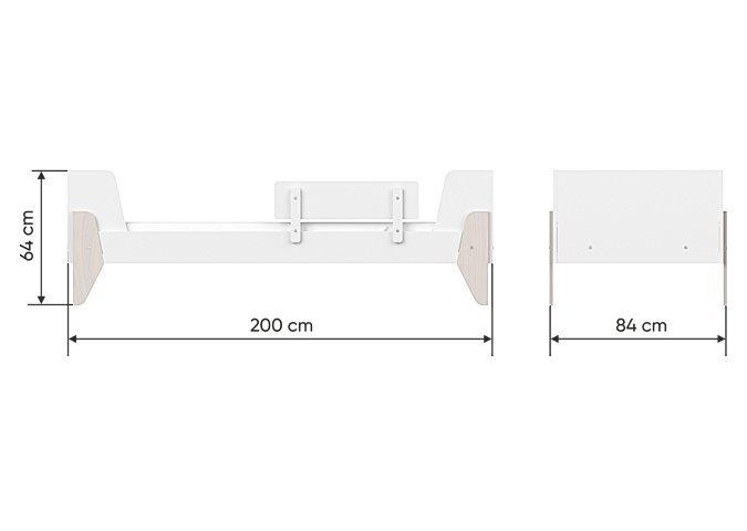 Кровать подростковая Line L молочного цвета