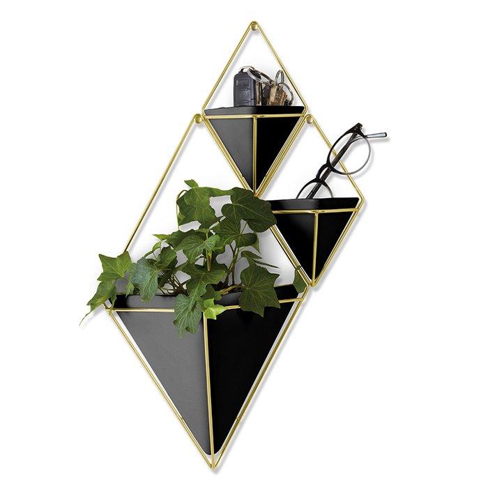 Декор для стен Trigg большой черного цвета с элементами цвета латуни