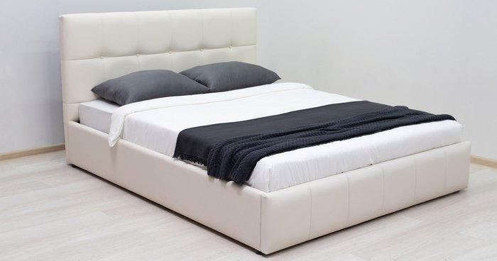 Кровать Хлоя 160х200 без подъемного механизма сливочного цвета