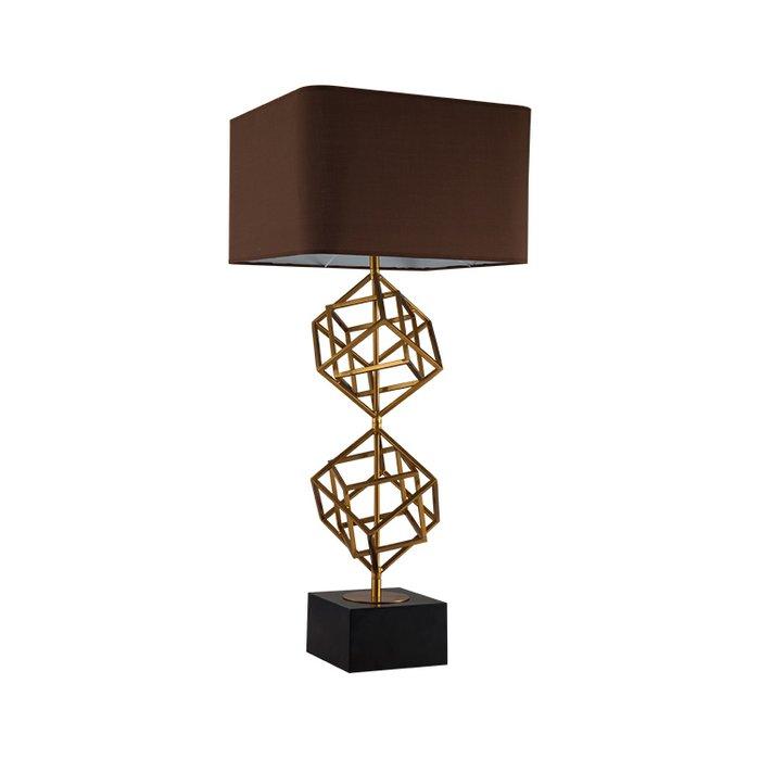Настольная лампа Matrix brass с черным абажуром