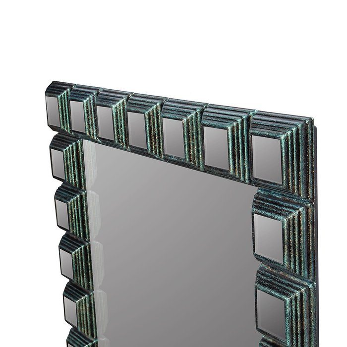 Зеркало настенное Пирамида I в черно-зеленой раме