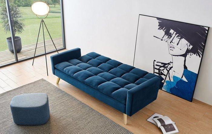 Диван-кровать Felicity темно-синего цвета с бежевыми ножками