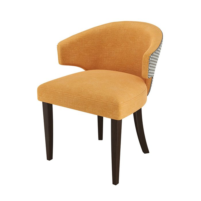 Стул-кресло мягкий серо-желтого цвета