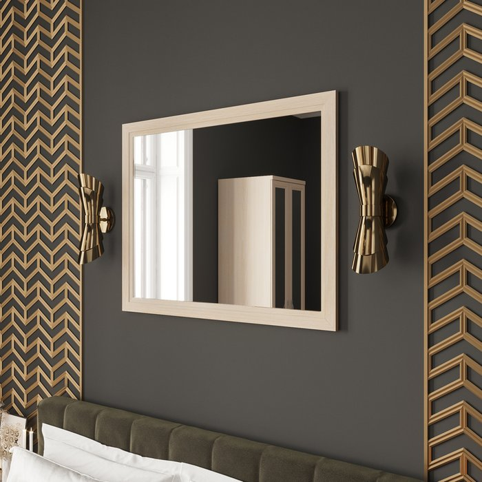 Настенное зеркало Магна в раме бежевого цвета