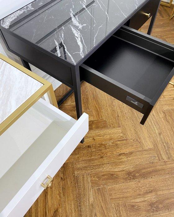 Консоль с двумя ящиками черного цвета