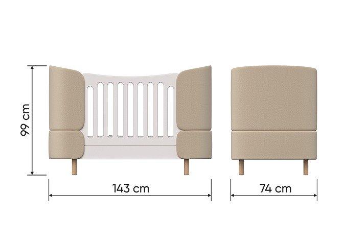 Кроватка-трансформер Kidi Soft 74х143 бело-бежевого цвета