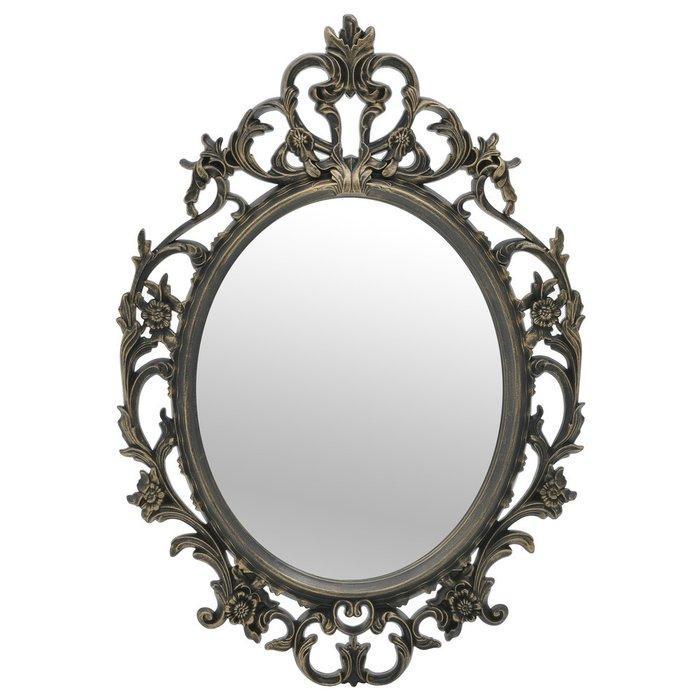 Зеркало настенное в раме черно-золотого цвета