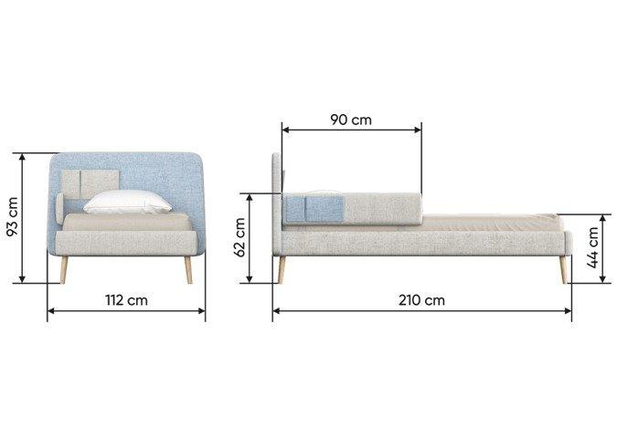 Кровать Soft 90х200 бежево-зеленого цвета