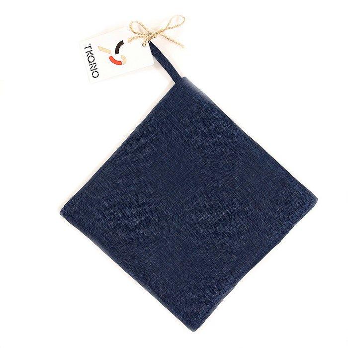 Прихватка из умягченного льна темно-синего цвета