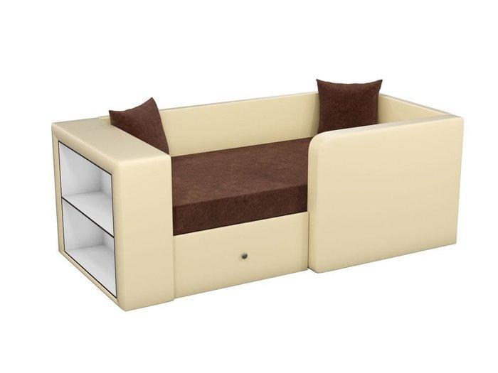 Детская кровать-диван Орнелла коричнево-бежевого цвета (ткань/экокожа)
