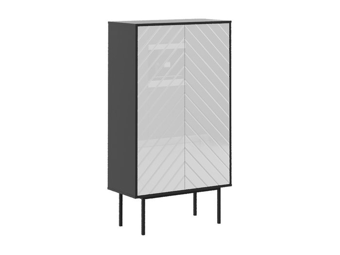 Шкаф двухдверный Boho со стеклянным фасадом белого цвета