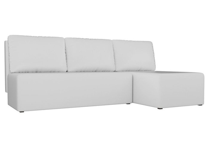 Угловой диван-кровать Поло белого цвета (экокожа)