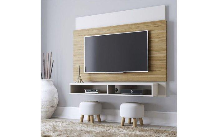 Стеллаж под ТВ Home Parker бело-коричневого цвета