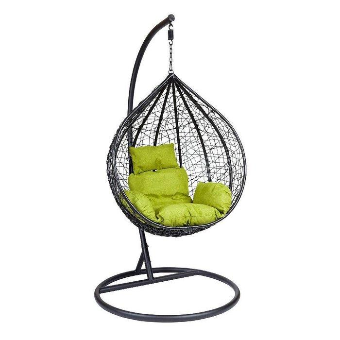 Подвесное кресло черно-зеленого цвета