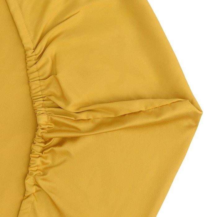 Простыня круглая на резинке из сатина горчичного цвета 75х75х20