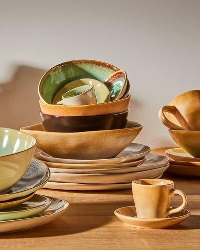 Кофейная чашка с блюдцем Beige Vreni из керамики