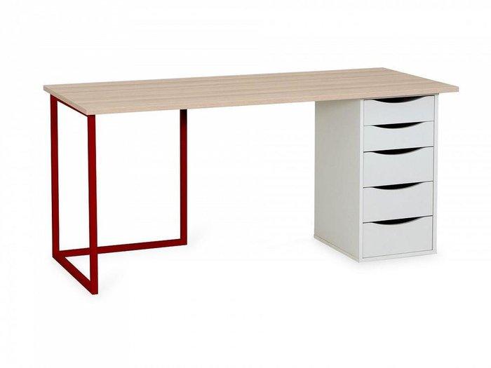 Письменный стол Board с тумбой белого цвета