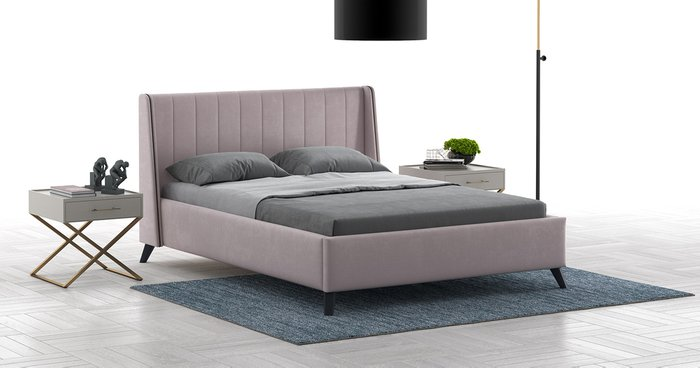 Кровать Мелисса 160х200 без подъемного механизма светло-розового цвета