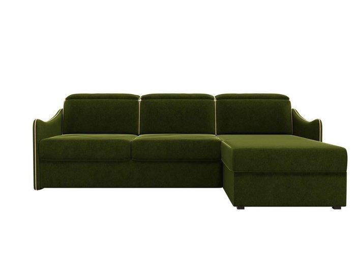 Угловой диван-кровать Скарлетт зеленого цвета