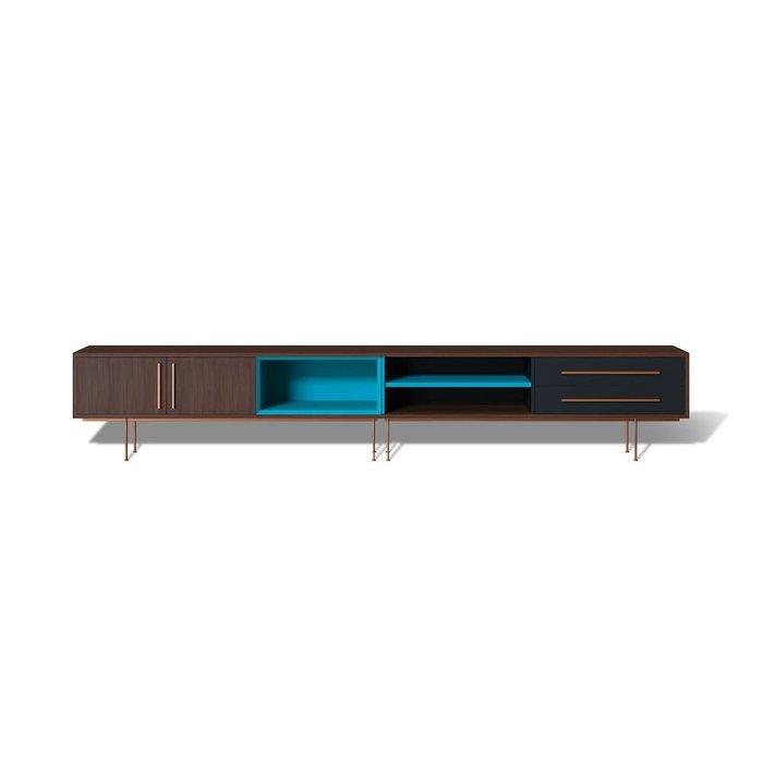 Тумба ТВ Slim с бирюзовой отделкой