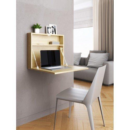 Настенный откидной стол для ноутбука цвета дуб