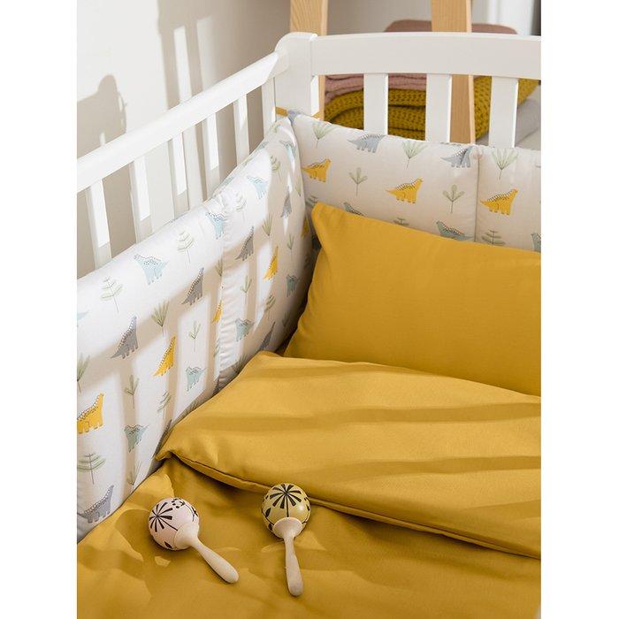 Комплект постельного белья из сатина горчичного цвета 110х140