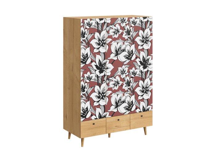 Шкаф Frida с цветочным орнаментом на деревянных ножках