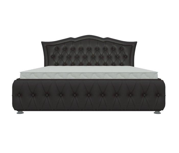 Кровать Герда 160х200 темно-коричневого цвета с подъемным механизмом (экокожа)