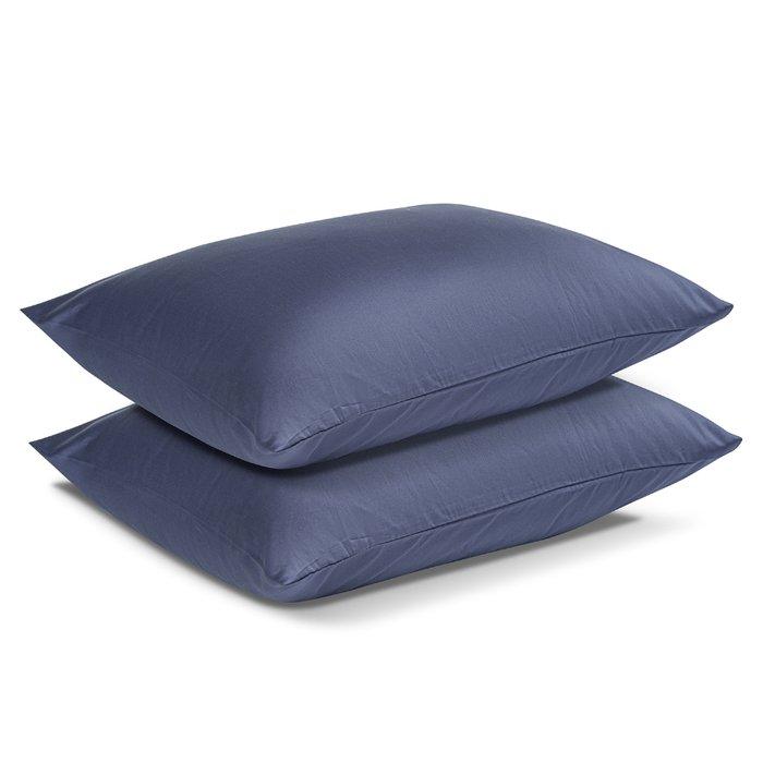 Комплект постельного белья Essential из сатина темно-синего цвета 200х210