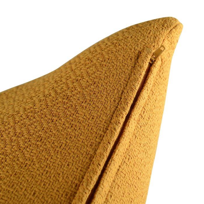 Подушка декоративная Essential из хлопка фактурного плетения цвета шафрана