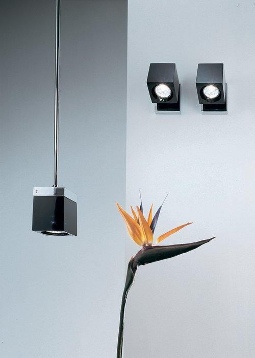 Настенный светильник Cubetto с плафоном из стекла розового цвета