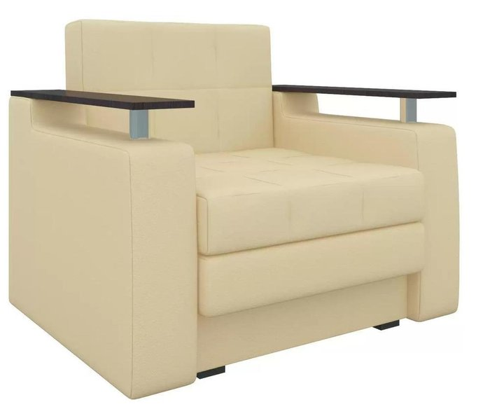 Кресло-кровать Мираж бежевого цвета (экокожа)