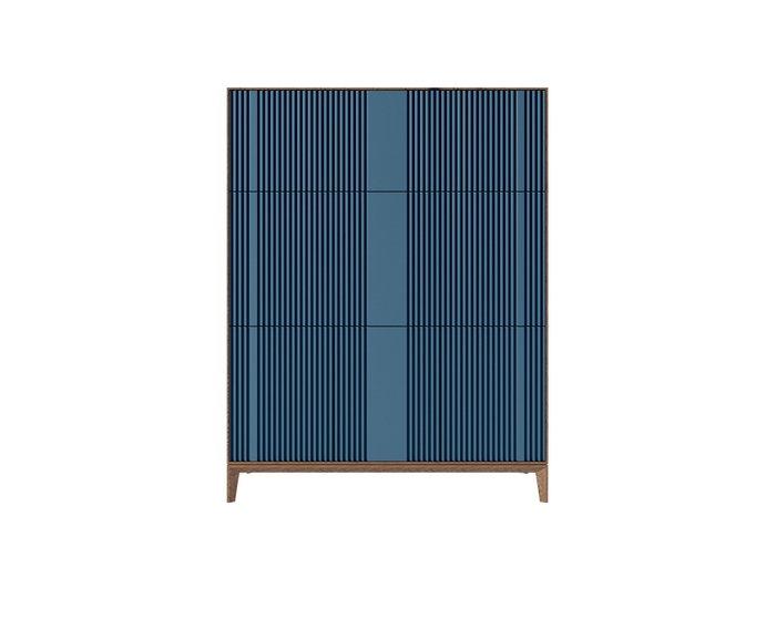 Секретер The One Wave с фасадом серо-синего цвета