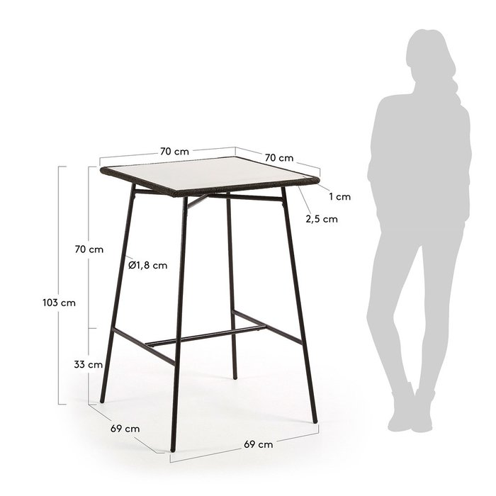 Барный стол Freeman с металлическим каркасом