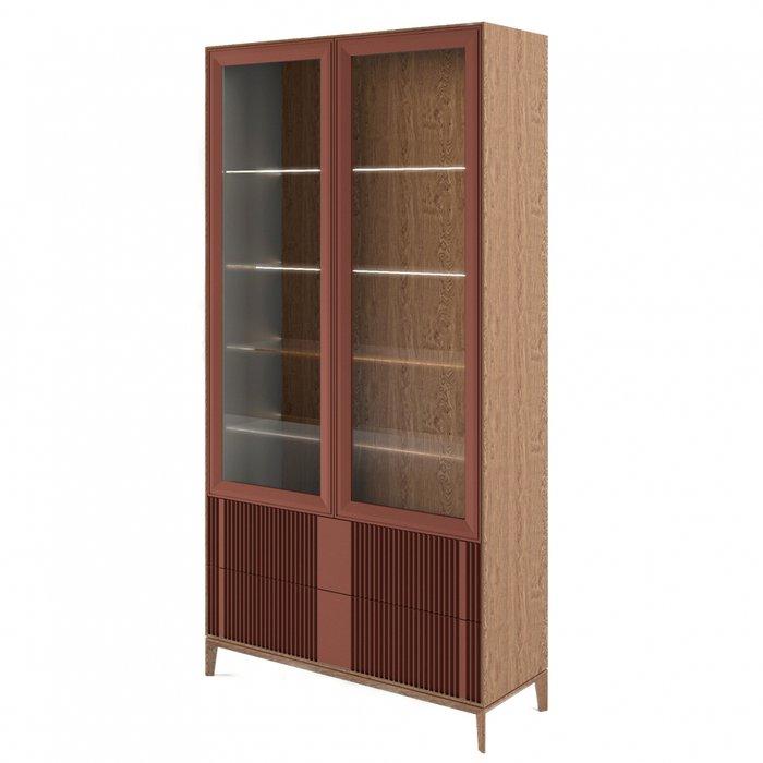 Шкаф-витрина The One Wave с фасадом темно-коричневого цвета