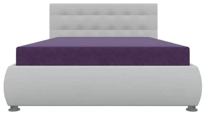 Кровать Рио 126х190 с подъемным механизмом бело-фиолетового цвета (ткань/экокожа)