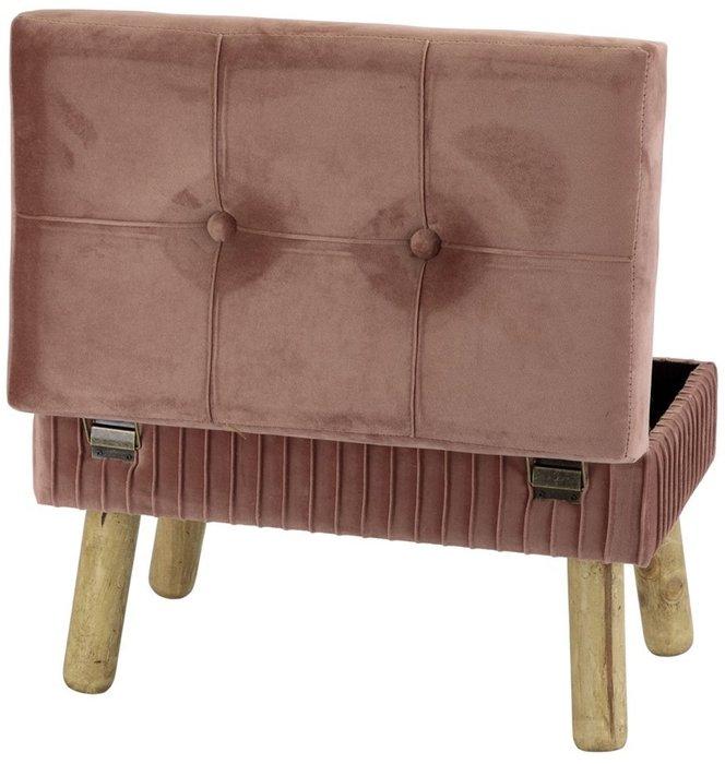 Банкетка розового цвета на деревянных ножках