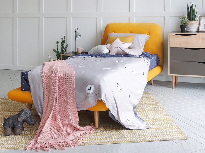 Кровать Loa 90х200 лилового цвета