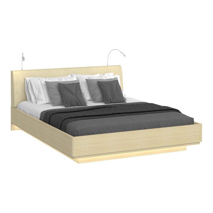 Кровать Элеонора 180х200 бежевого цвета с двумя светильниками