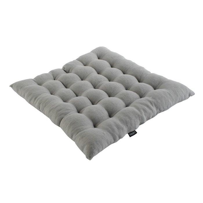 Стеганная подушка на стул из умягченного льна серого цвета