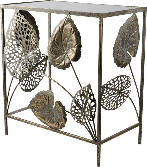 Консольный-столик из металла с зеркальной столешницей