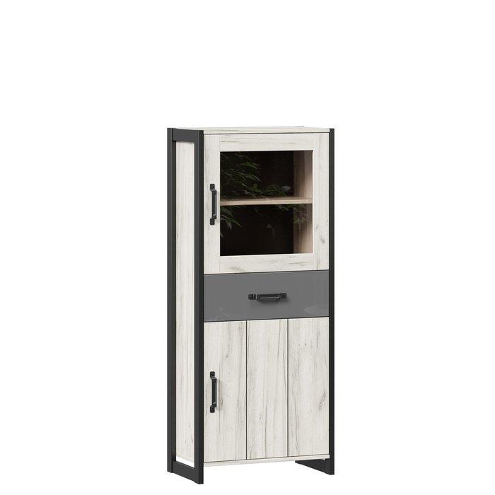 Шкаф-витрина Техно бежево-серого цвета