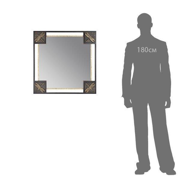 Зеркало настенное Стрекозы черно-золотого цвета